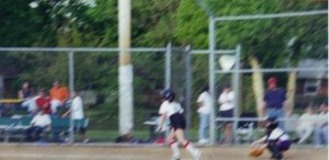 Here I am at 9 years old, about to run to first base. Good luck, little chunky Heather.